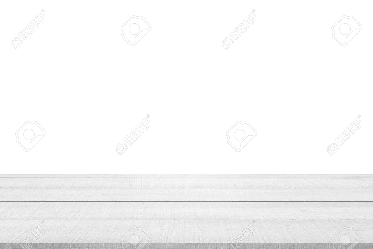White wood table top panel isolated on white background, use for display or montage products for advertisement - 53693767