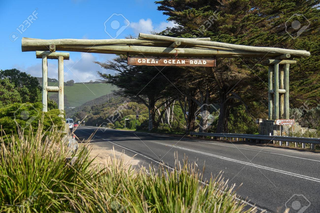 Wooden gate and street sign of the Great Ocean Road near Lorne, Victoria, Australia - 62018751