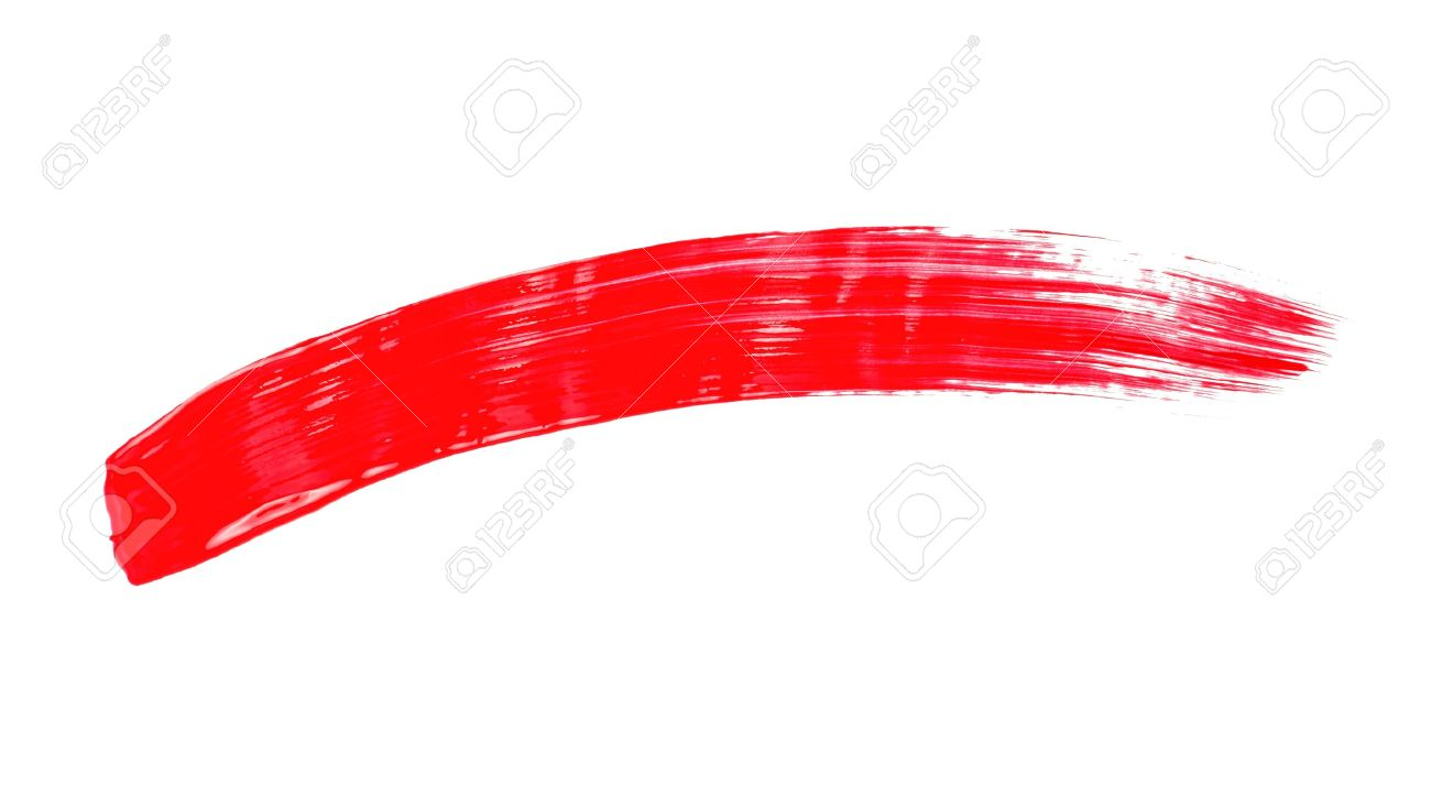 red brushstroke on a white background stock photo picture and