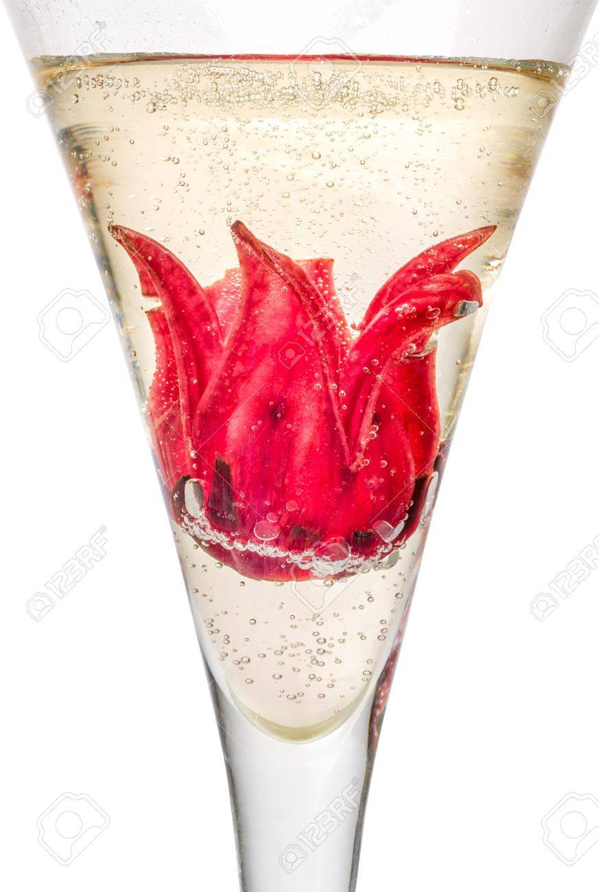 Champagne Cocktail With Hibiscus Flower Stock Photo Picture And