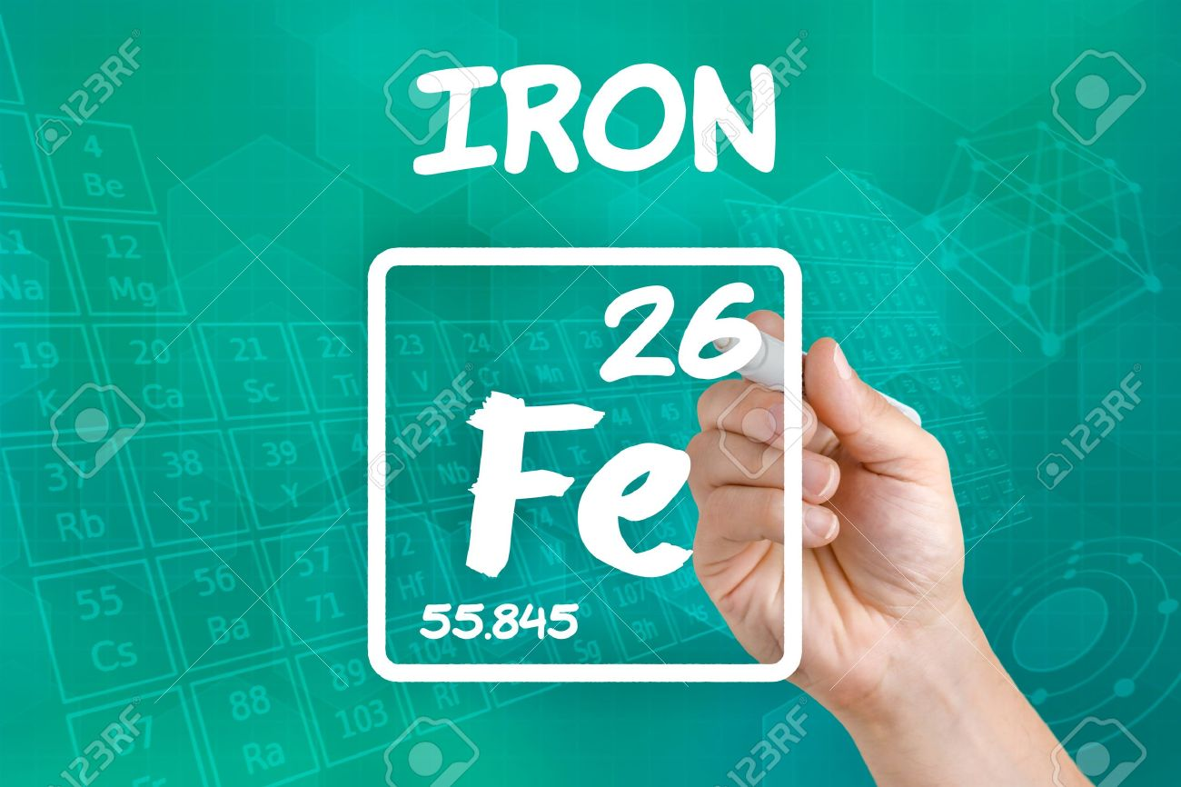 Symbol For The Chemical Element Iron Stock Photo Picture And