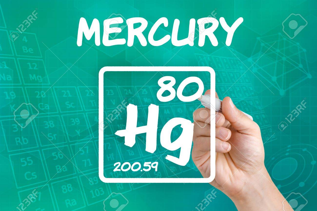 Symbol For The Chemical Element Mercury Stock Photo Picture And