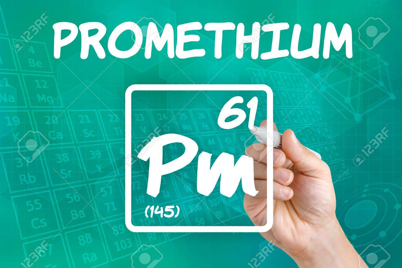 Symbol For The Chemical Element Promethium Stock Photo Picture And