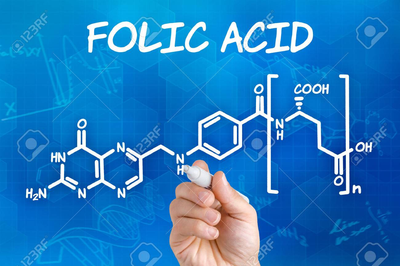Hand with pen drawing the chemical formula of folic acid - 24157214