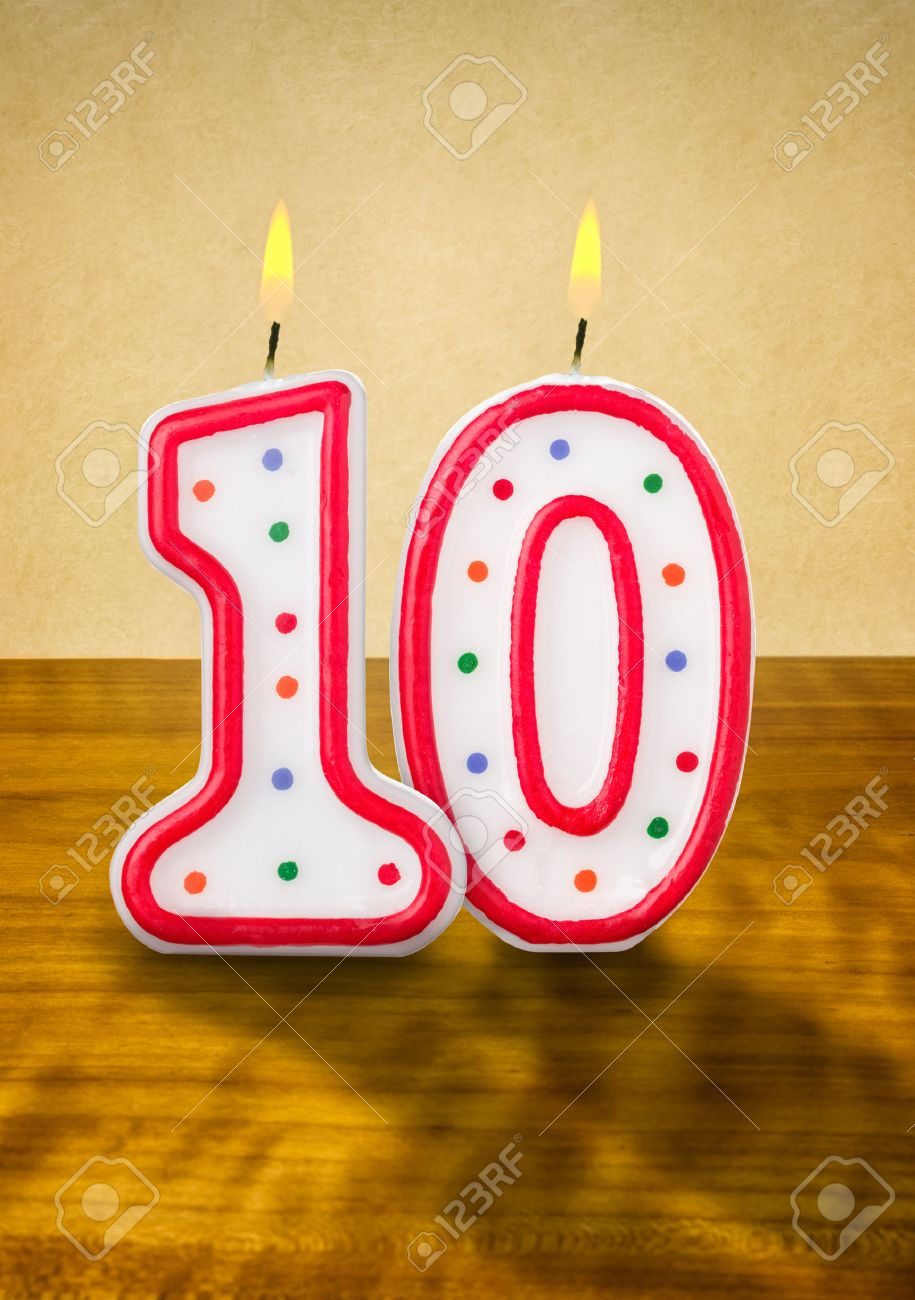 Burning Birthday Candles Number 10 Stock Photo
