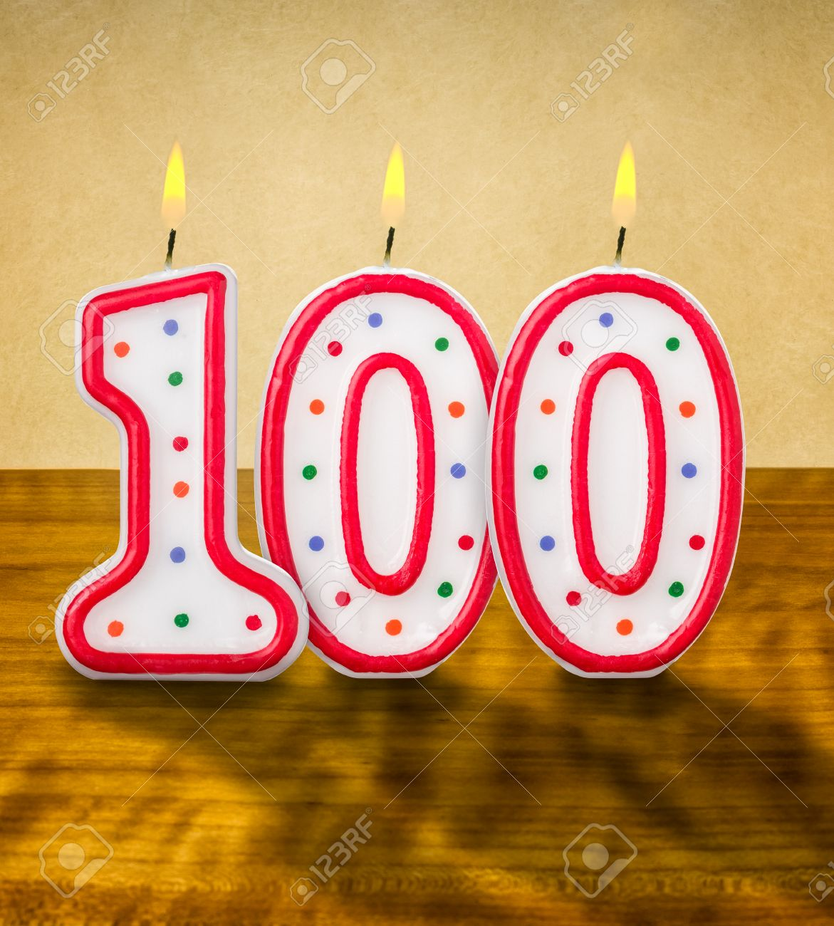 Burning Birthday Candles Number 100 Stock Photo