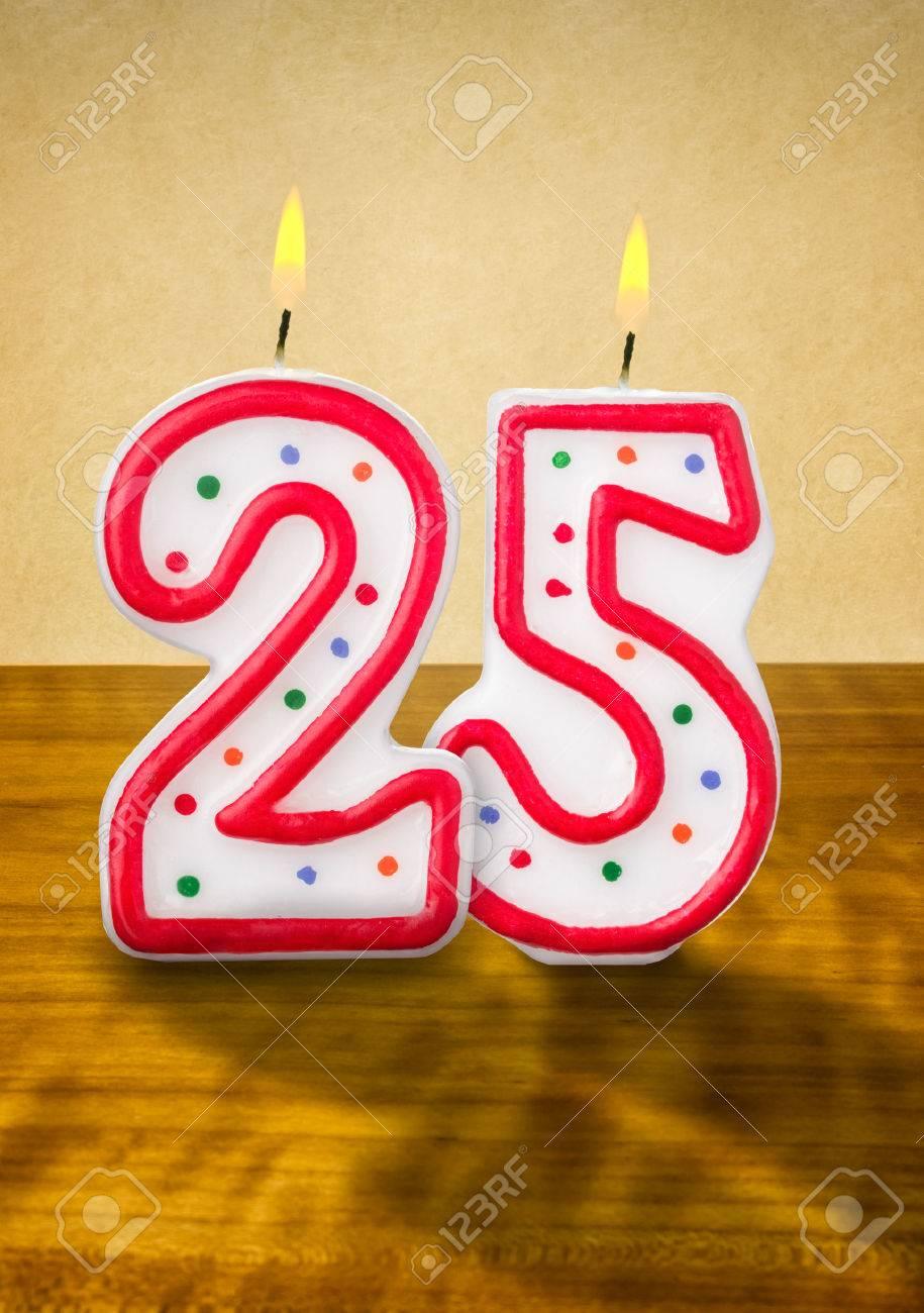Burning Birthday Candles Number 25 Stock Photo