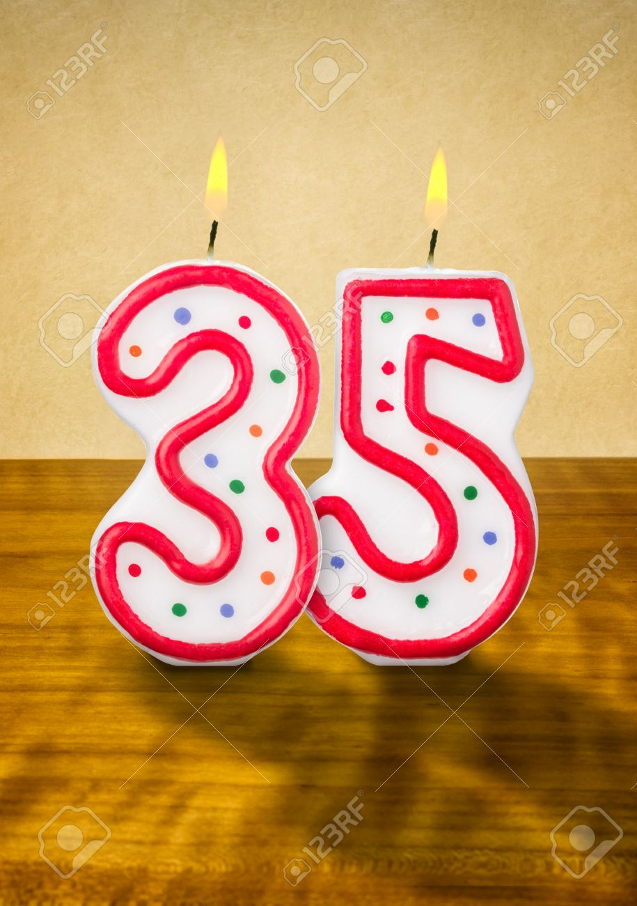 Burning Birthday Candles Number 35 Stock Photo Picture And Royalty