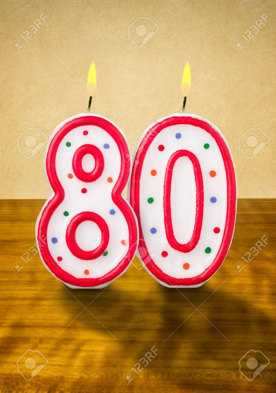 Burning Birthday Candles Number 80 Stock Photo
