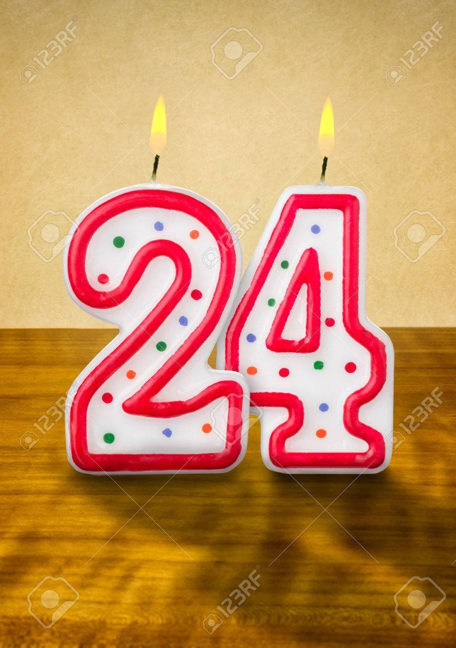 Burning Birthday Candles Number 24 Stock Photo