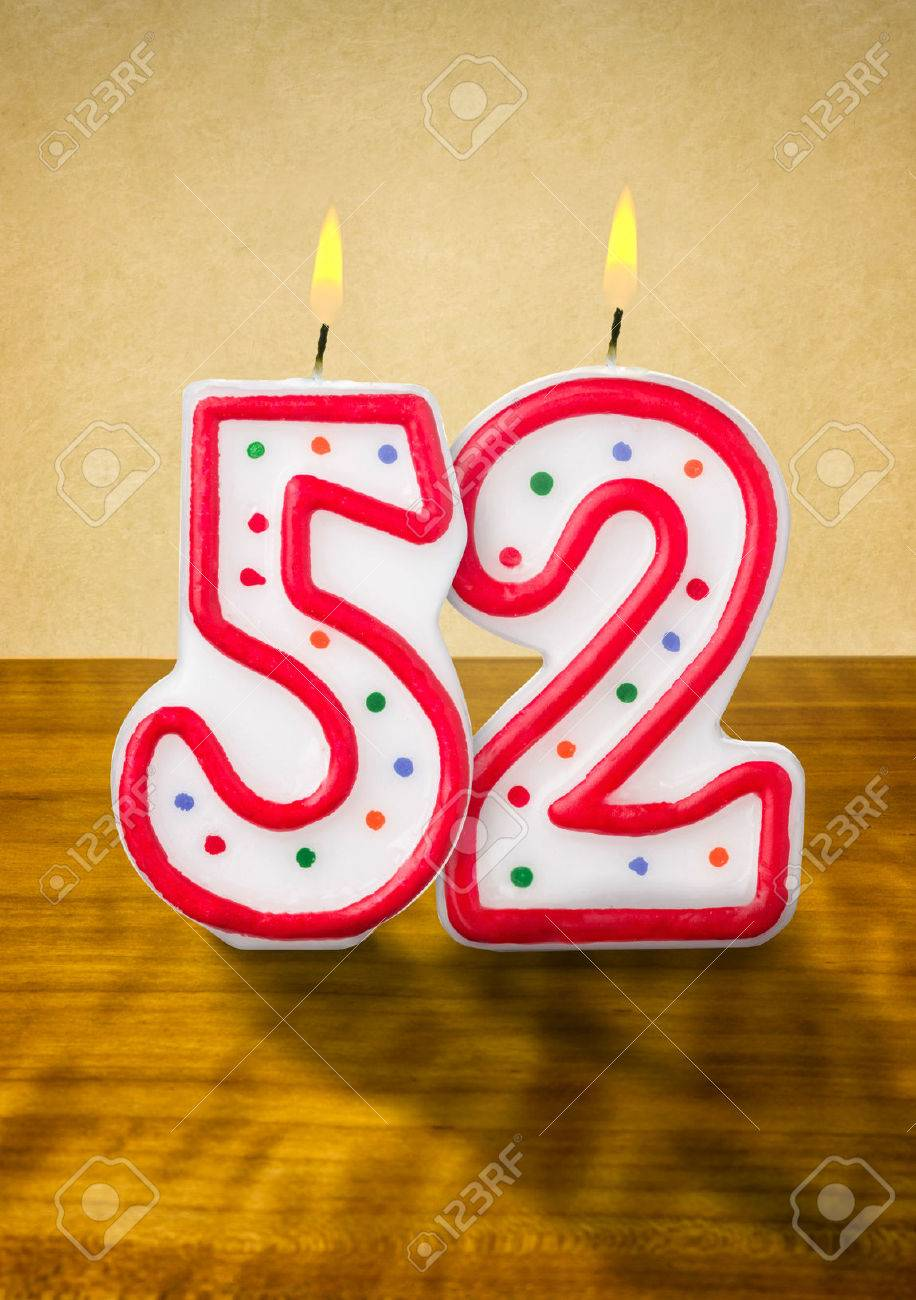 Burning Birthday Candles Number 52 Stock Photo