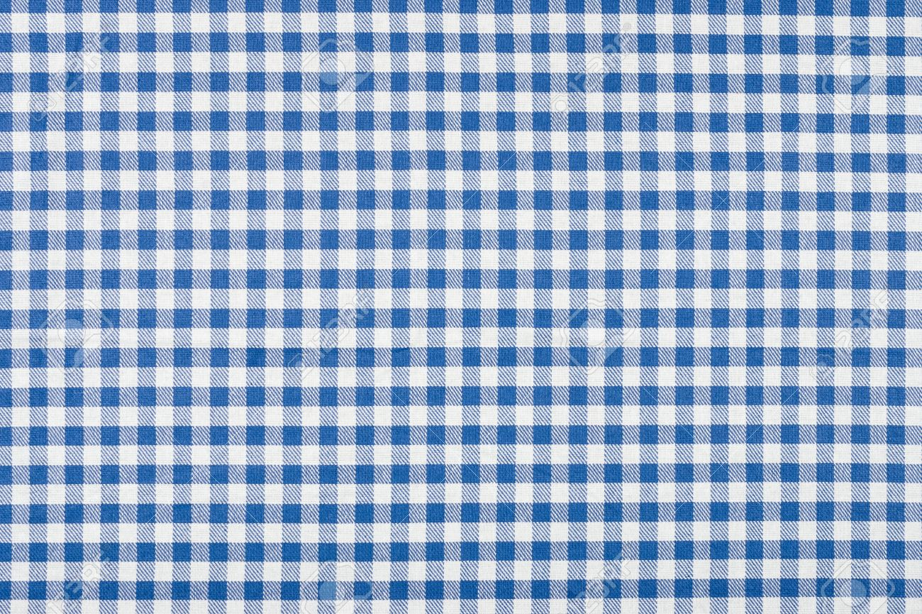 Attractive Blue And White Checkered Tablecloth Stock Photo   31434469