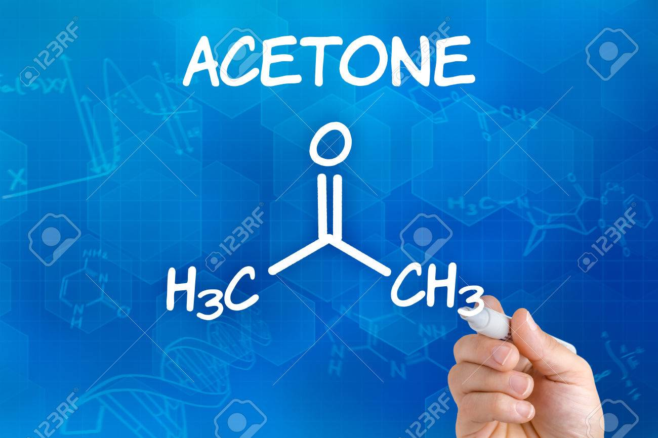 Hand With Pen Drawing The Chemical Formula Of Acetone Stock Photo ...