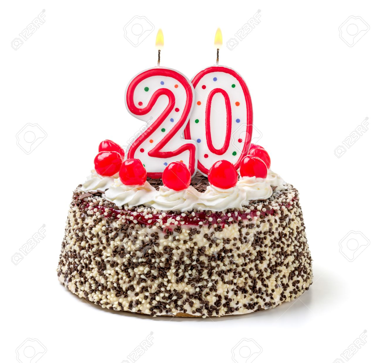 Marvelous Birthday Cake With Burning Candle Number 20 Stock Photo Picture Funny Birthday Cards Online Inifodamsfinfo