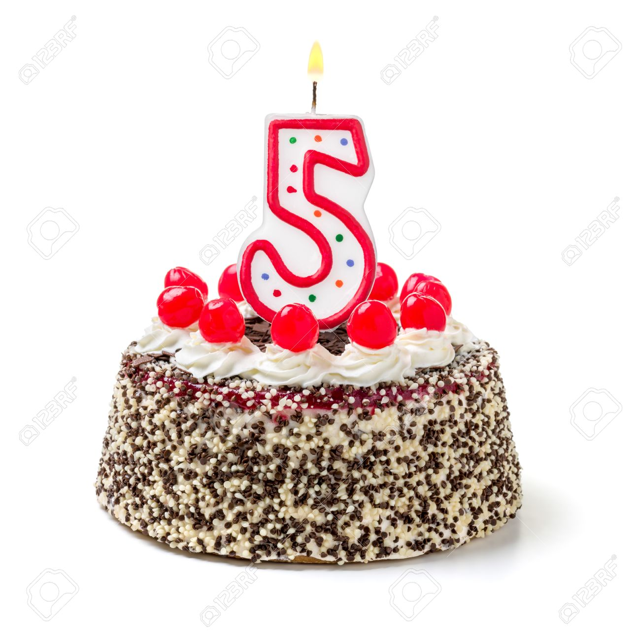 Birthday Cake With Burning Candle Number 5 Stock Photo