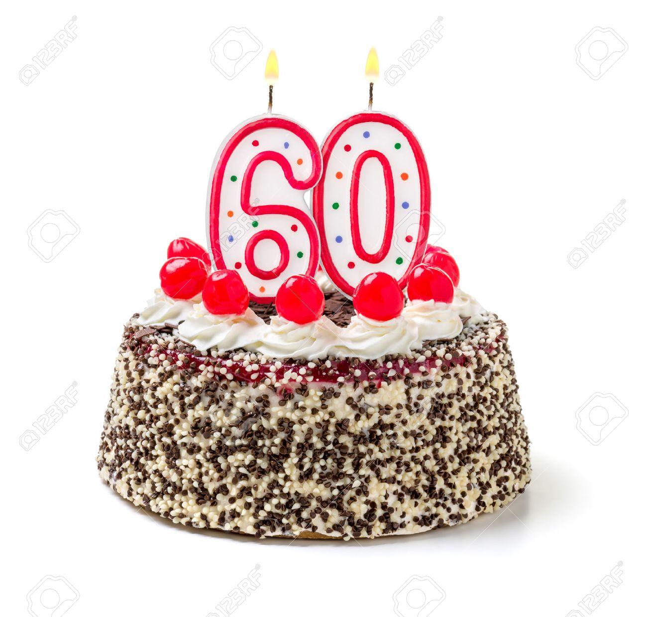 Birthday Cake With Burning Candle Number 60 Stock Photo