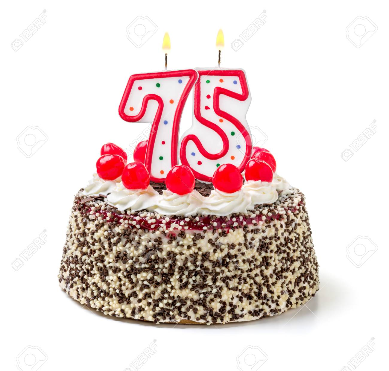 Fantastic Birthday Cake With Burning Candle Number 75 Stock Photo Picture Funny Birthday Cards Online Elaedamsfinfo