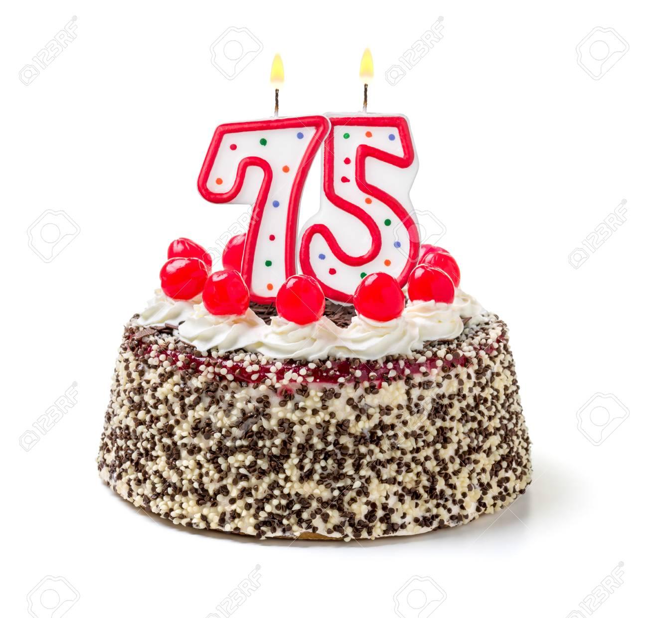 Gâteau Danniversaire Avec Le Numéro Combustion De Bougie 75