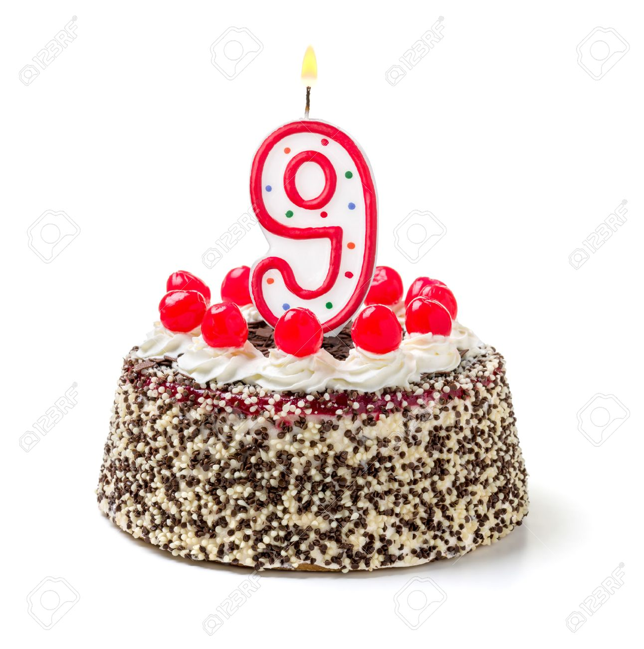 Birthday Cake With Burning Candle Number 9 Stock Photo