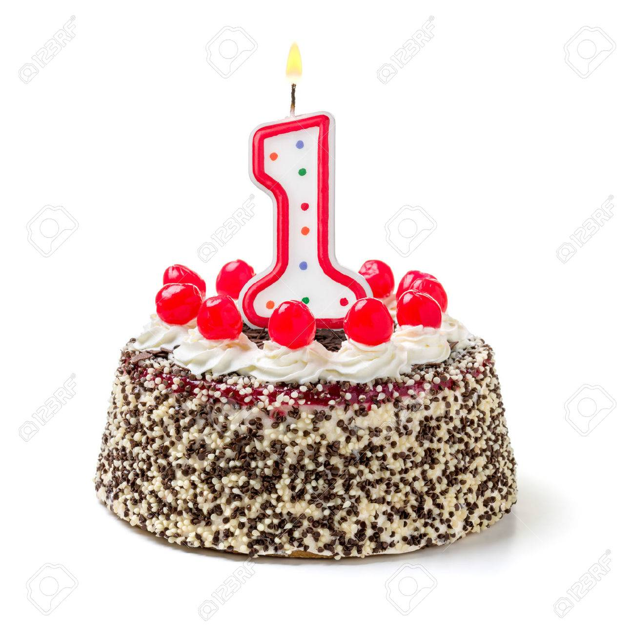 Birthday Cake With Burning Candle Number 1 Stock Photo