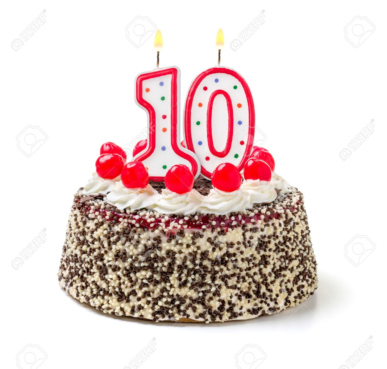 Peachy Birthday Cake With Burning Candle Number 10 Stock Photo Picture Funny Birthday Cards Online Elaedamsfinfo