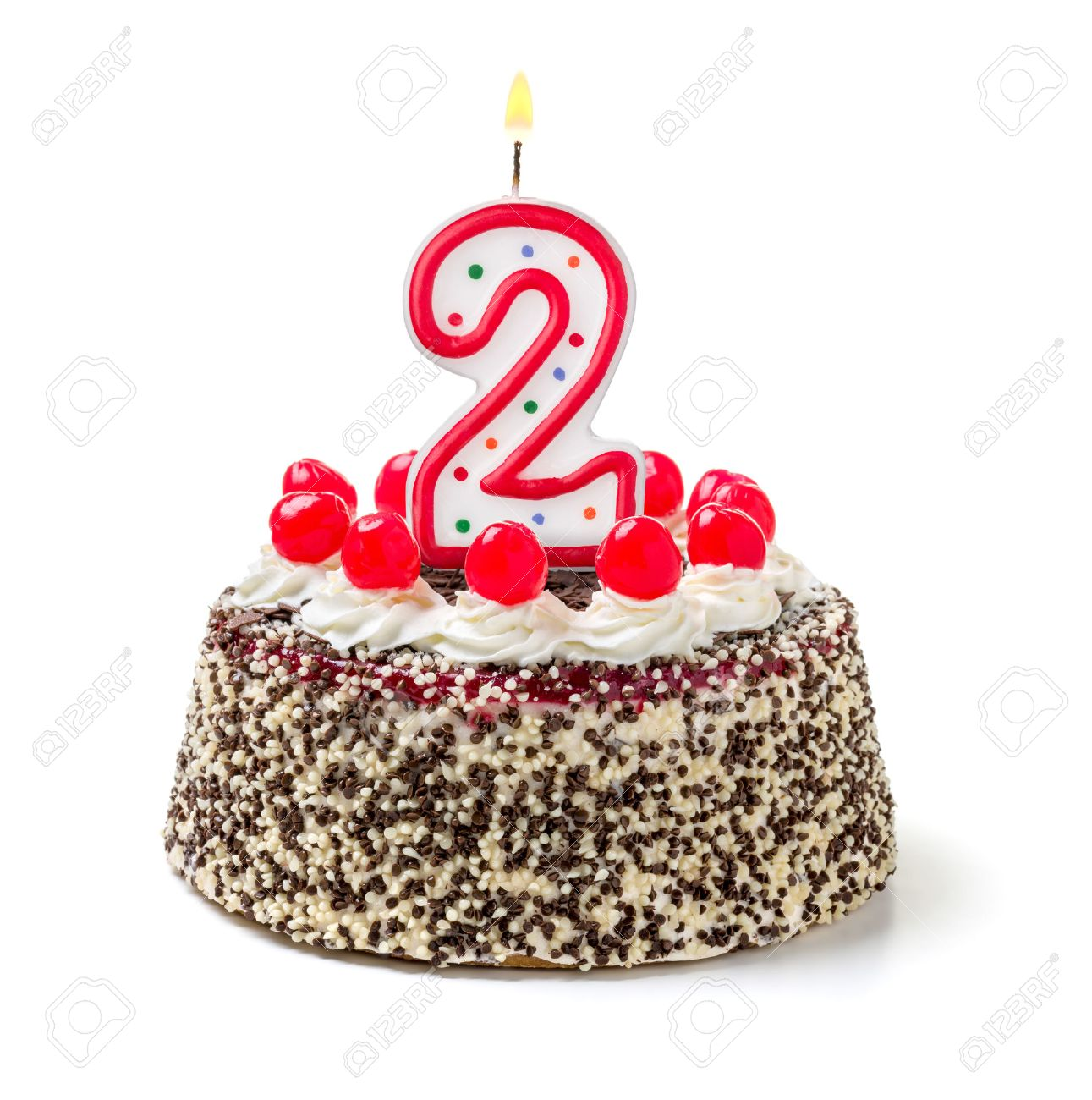 Birthday Cake With Burning Candle Number 2 Stock Photo