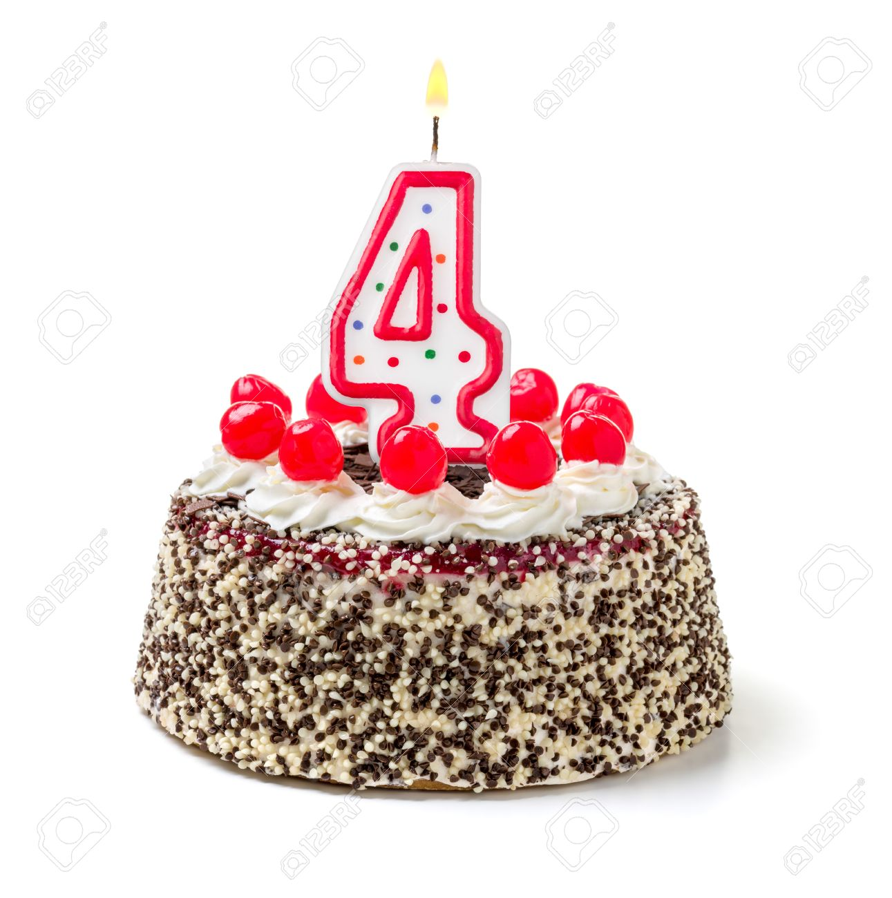 Birthday Cake With Burning Candle Number 4 Stock Photo
