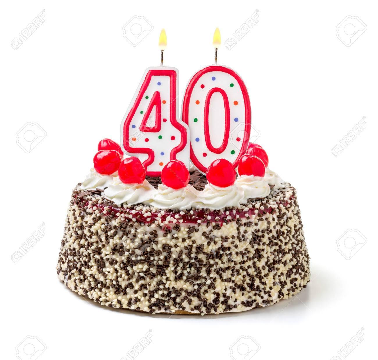 Birthday Cake With Burning Candle Number 40 Stock Photo