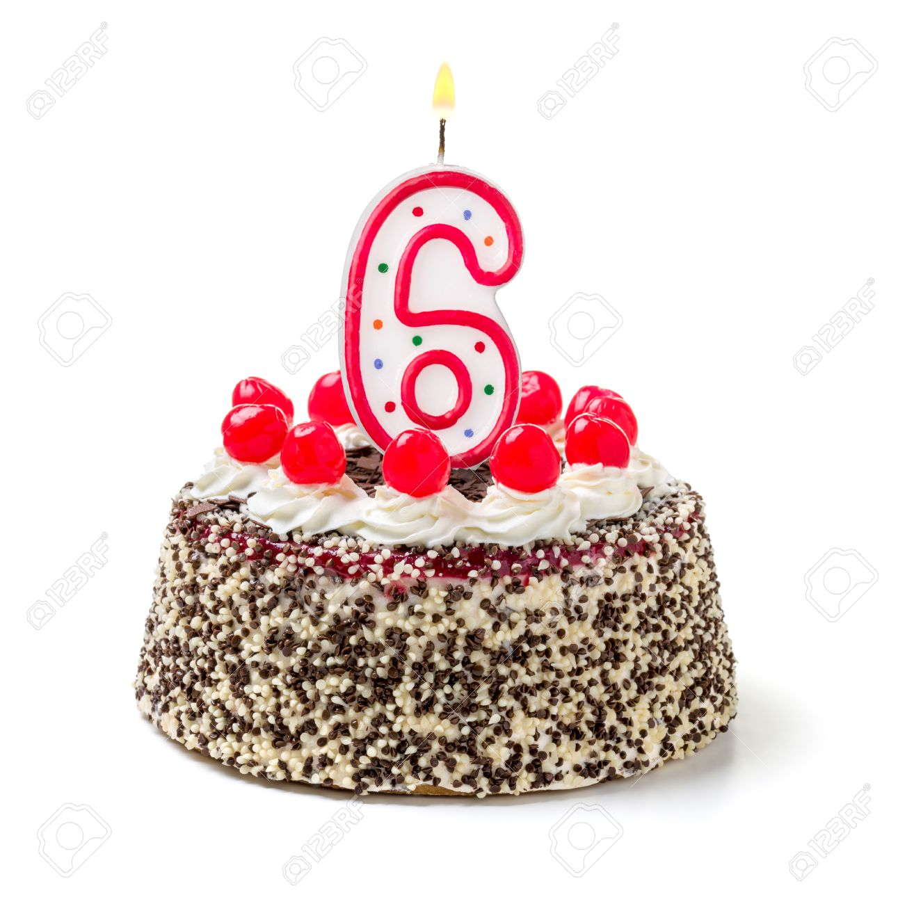 Admirable Birthday Cake With Burning Candle Number 6 Stock Photo Picture Funny Birthday Cards Online Alyptdamsfinfo