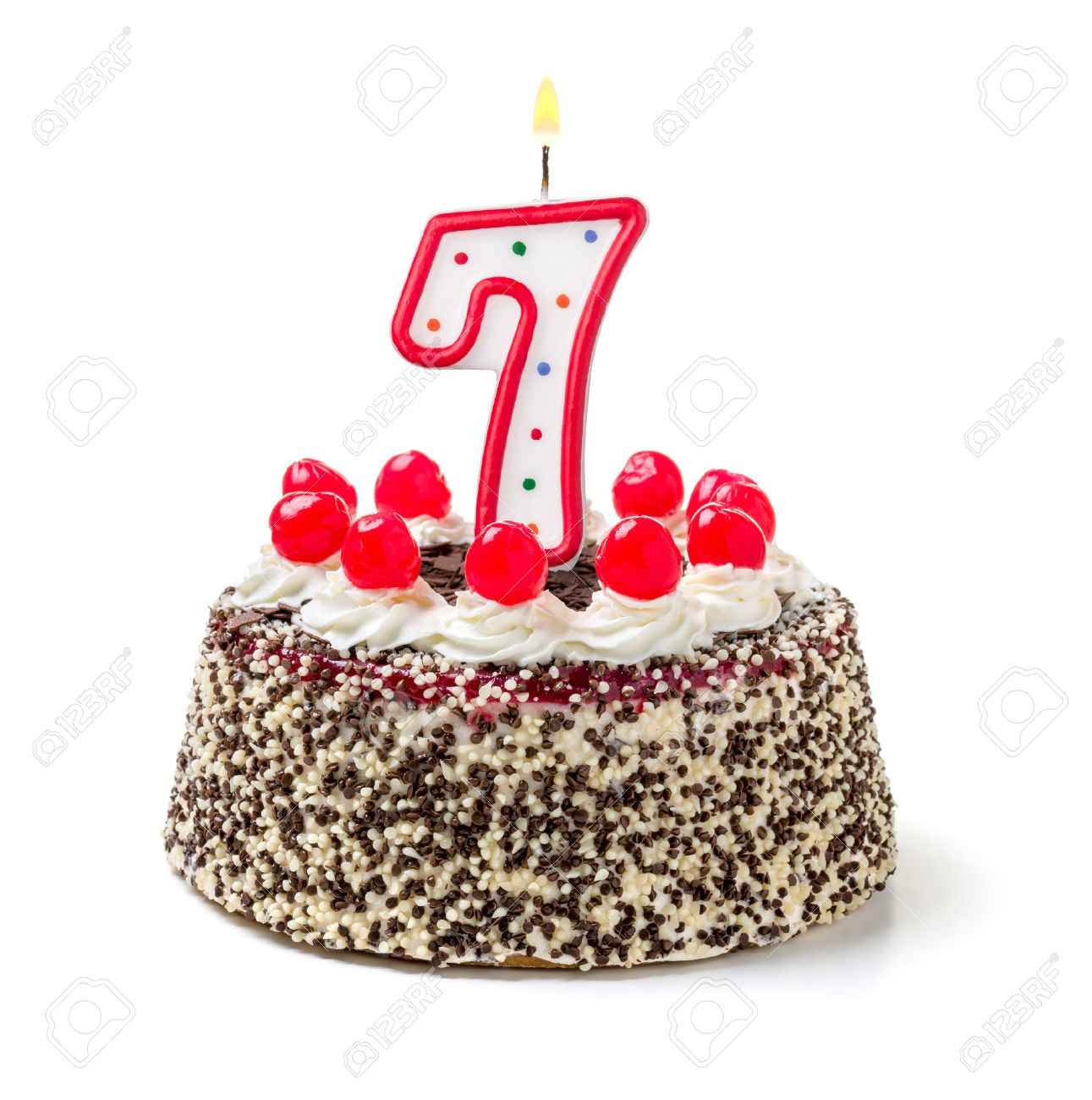 Birthday Cake With Burning Candle Number 7 Stock Photo