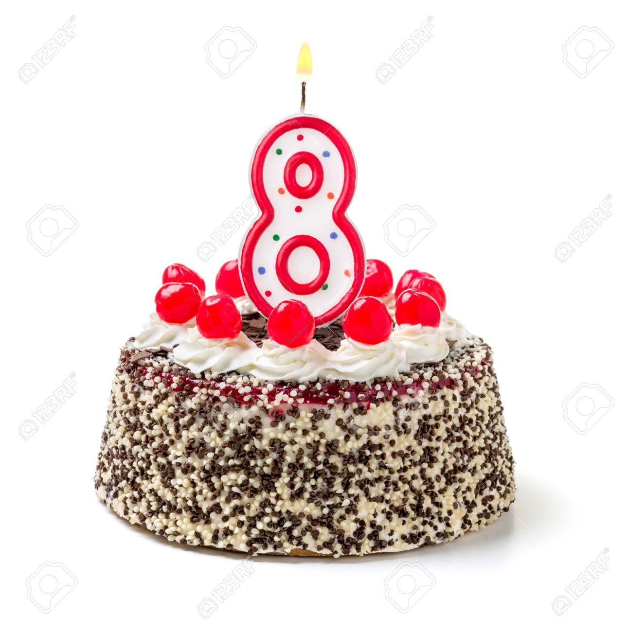 Birthday Cake With Burning Candle Number 8 Stock Photo
