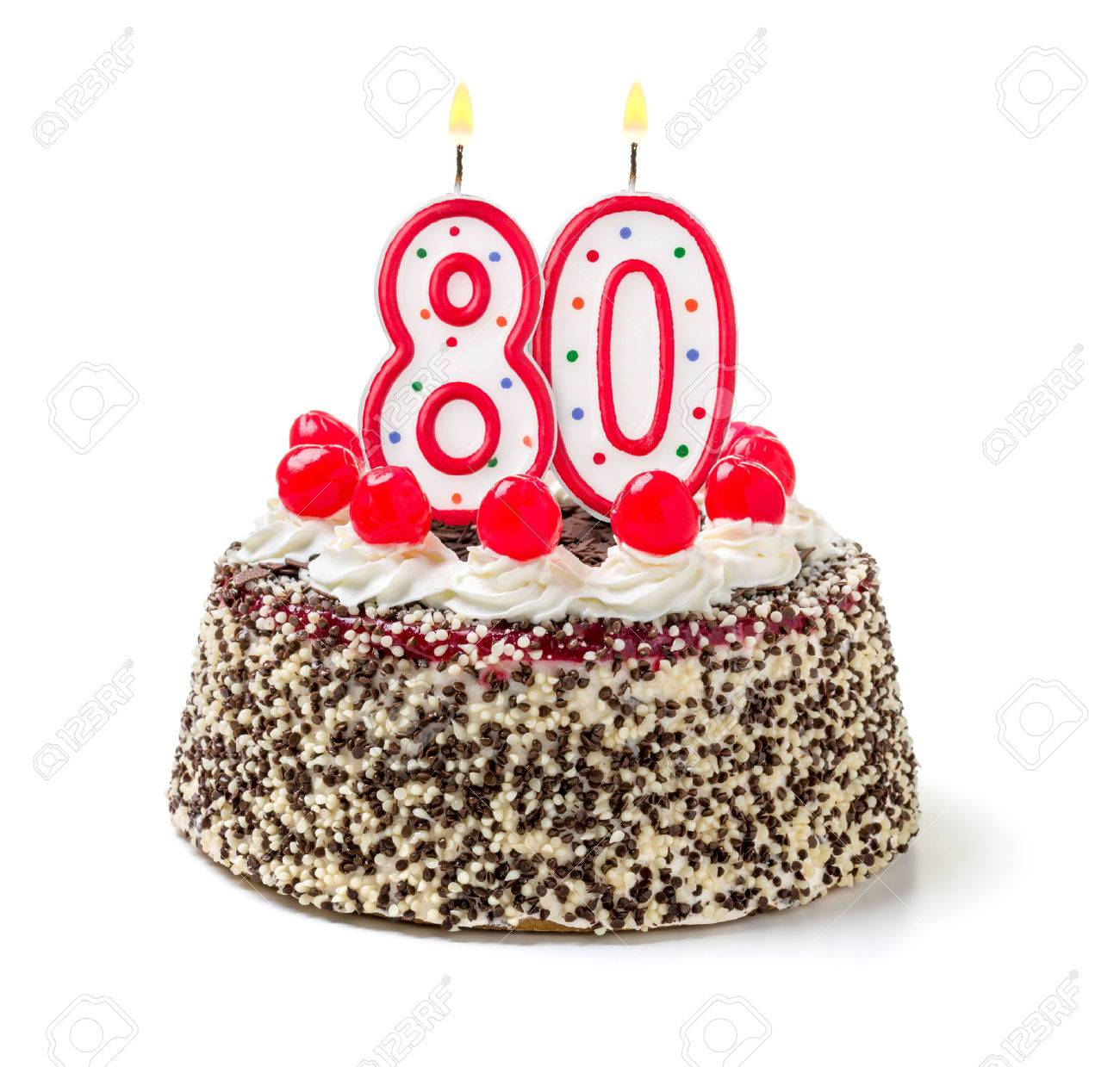 Birthday Cake With Burning Candle Number 80 Stock Photo