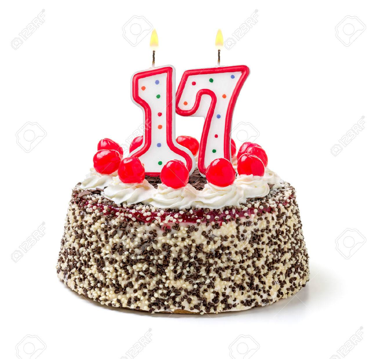 Tremendous Birthday Cake With Burning Candle Number 17 Stock Photo Picture Funny Birthday Cards Online Alyptdamsfinfo
