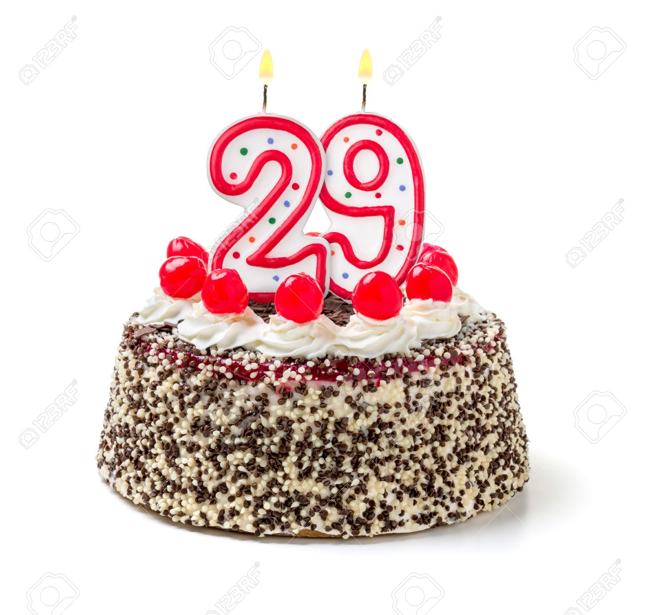 Astounding Birthday Cake With Burning Candle Number 29 Stock Photo Picture Personalised Birthday Cards Arneslily Jamesorg