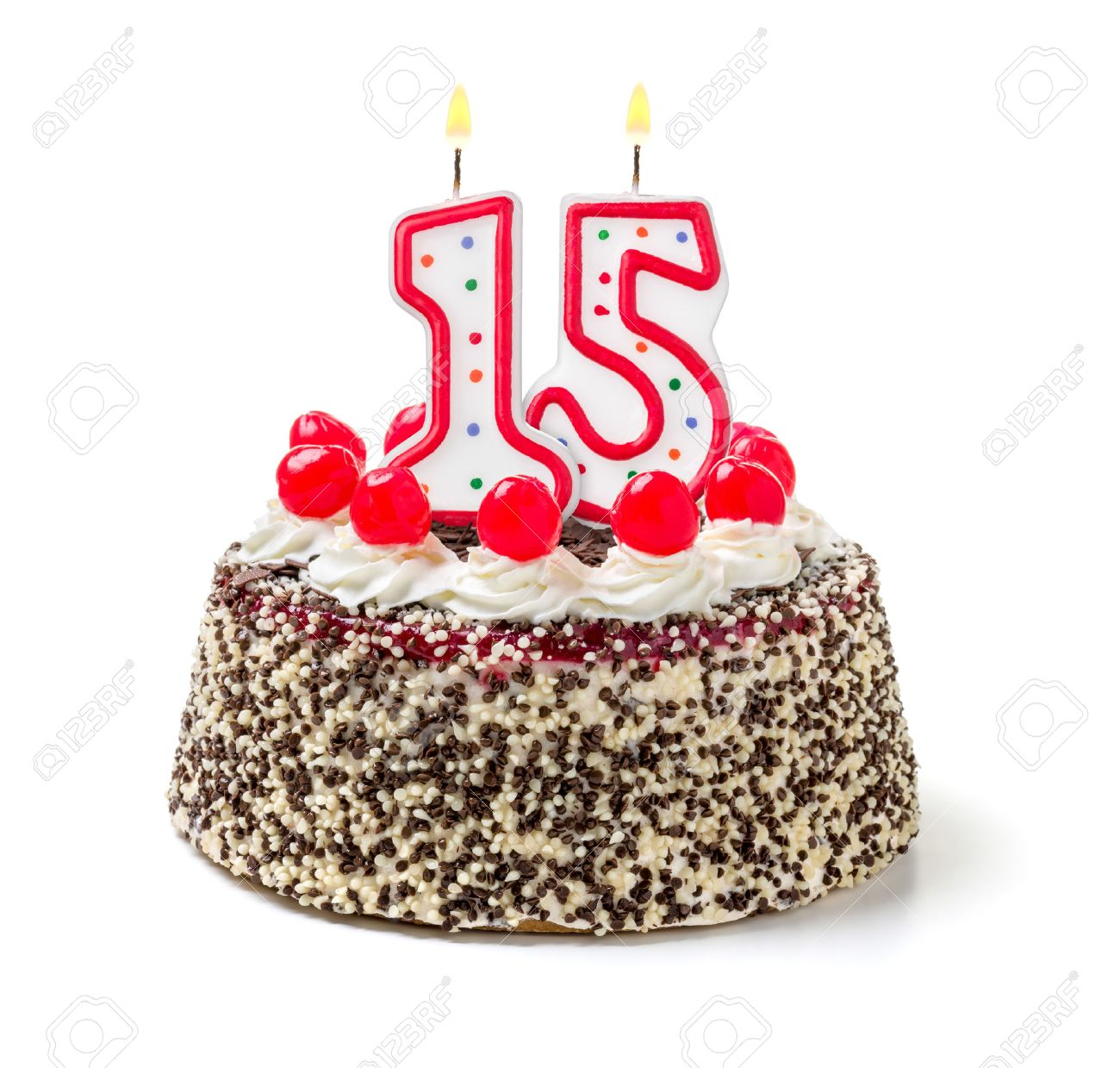 Terrific Birthday Cake With Burning Candle Number 15 Stock Photo Picture Personalised Birthday Cards Paralily Jamesorg