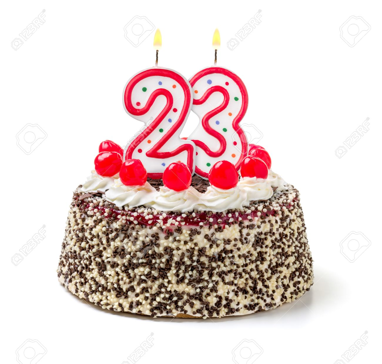 Birthday Cake With Burning Candle Number 23 Stock Photo