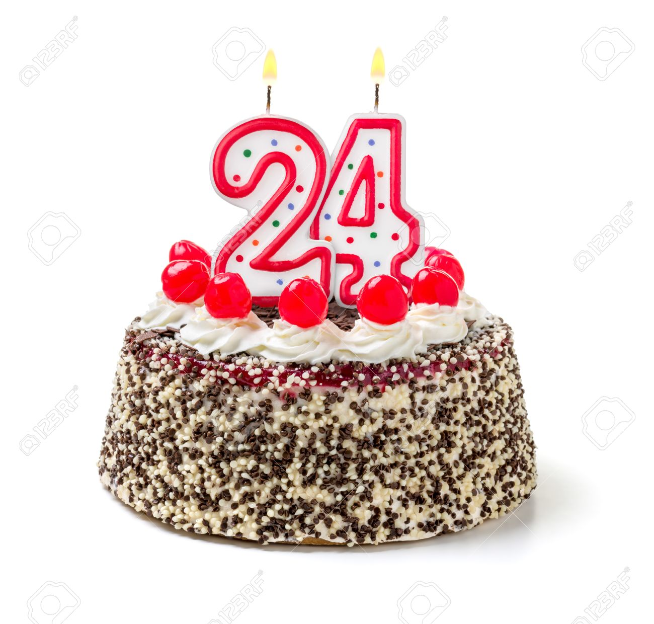 Birthday Cake With Burning Candle Number 24 Stock Photo