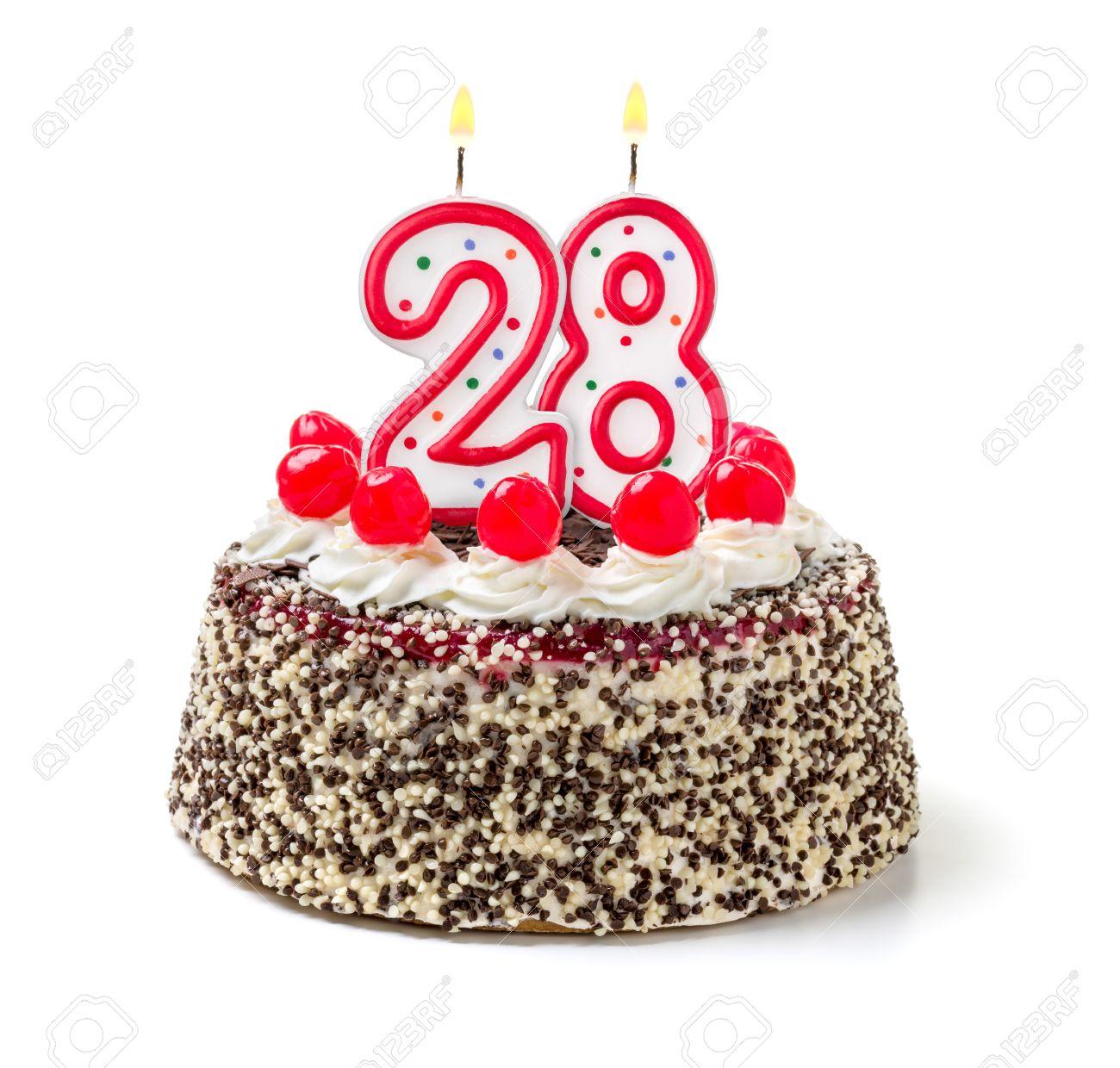 Birthday Cake With Burning Candle Number 28 Stock Photo