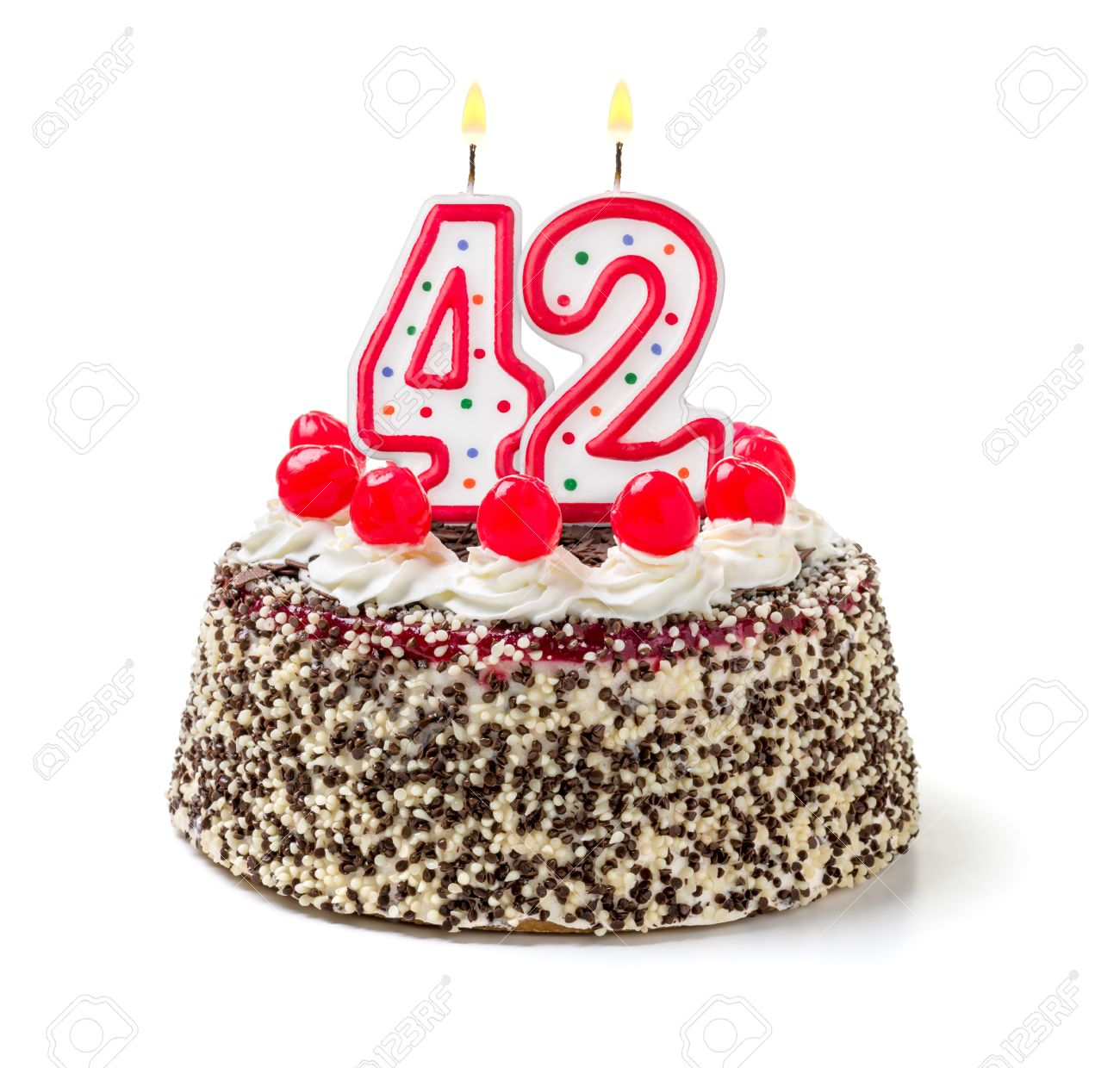 Wondrous Birthday Cake With Burning Candle Number 42 Stock Photo Picture Funny Birthday Cards Online Fluifree Goldxyz