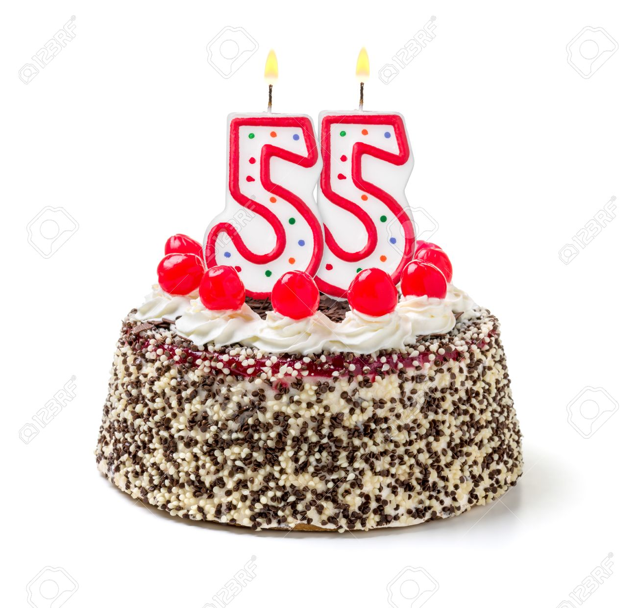 Birthday Cake With Burning Candle Number 55 Stock Photo, Picture And ...