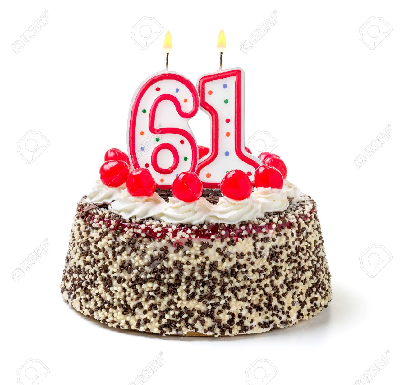 Birthday cake with burning candle number 61 Stock Photo - 32590286
