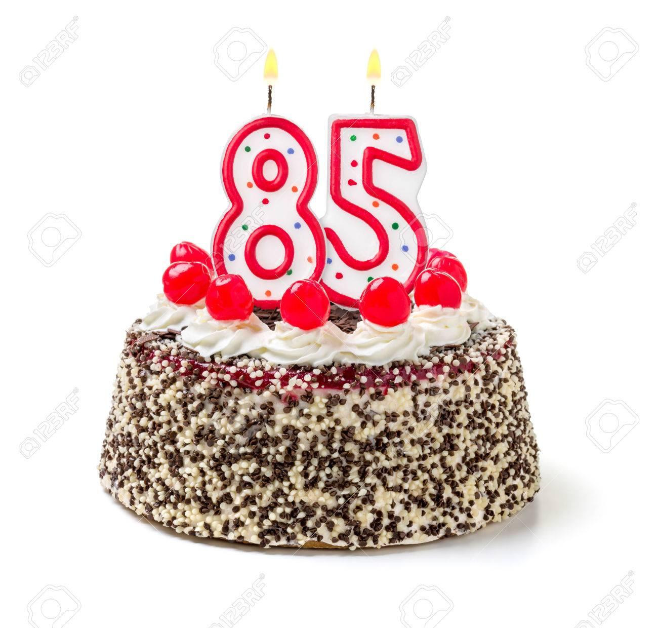 Birthday Cake With Burning Candle Number 85 Stock Photo