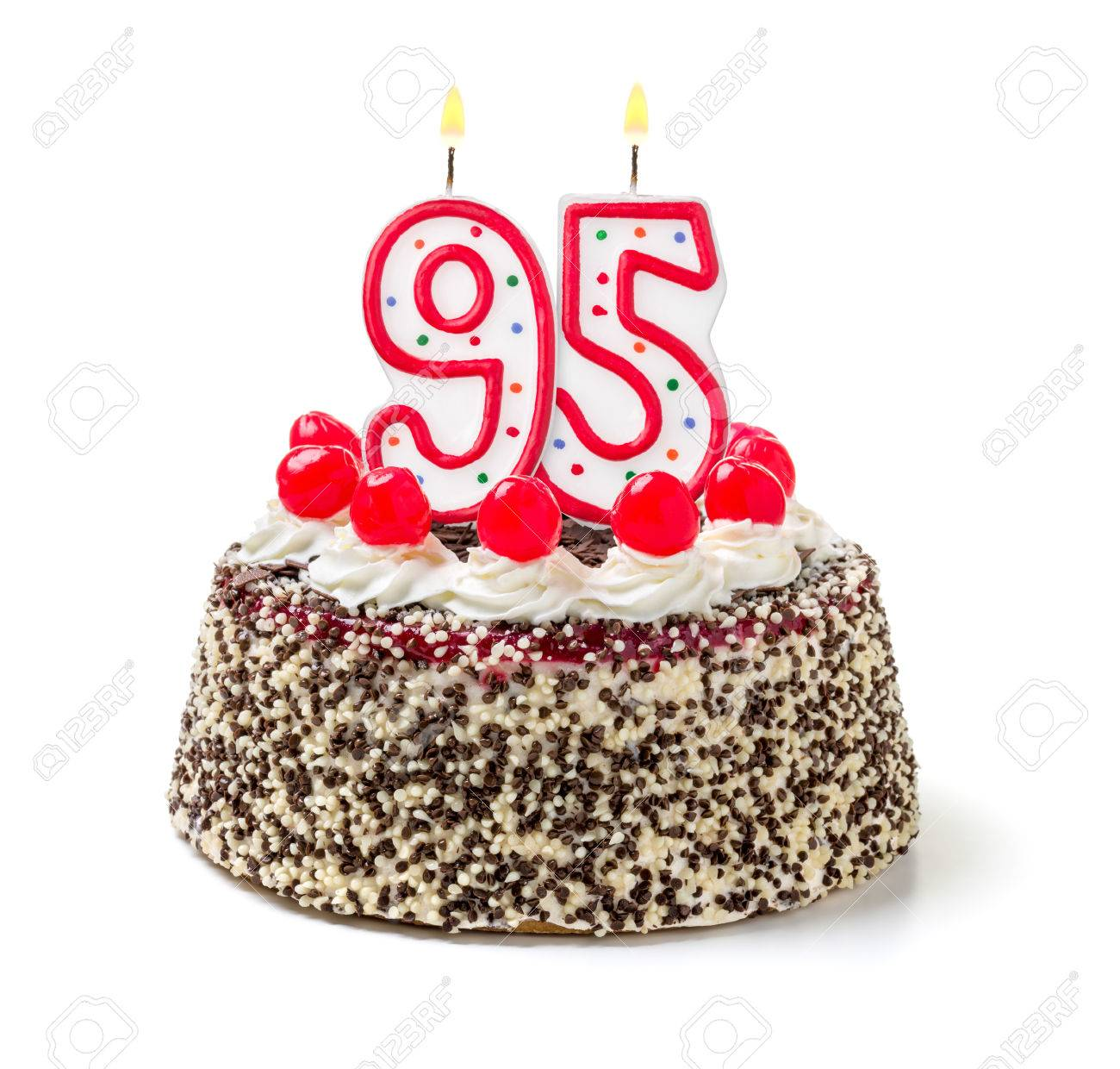 Birthday Cake With Burning Candle Number 95 Stock Photo