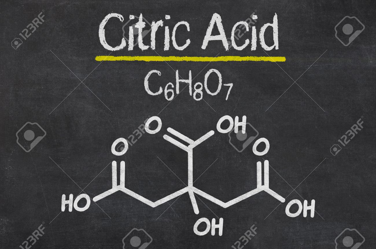 Blackboard With The Chemical Formula Of Citric Acid Stock Photo