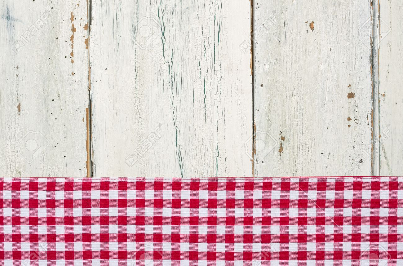 Red Checkered Tablecloth On A White Wooden Background Stock Photo   38686243