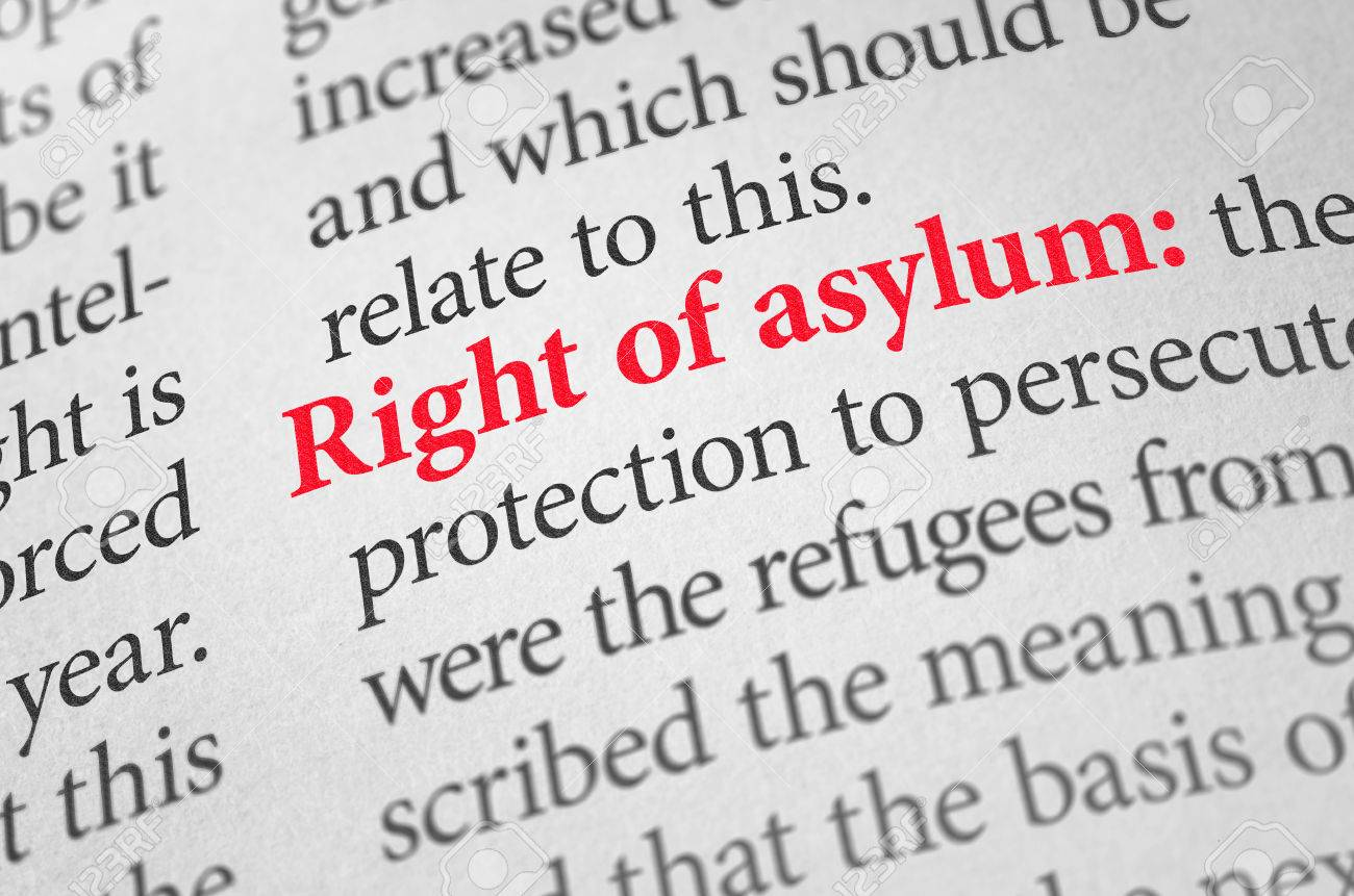 definition of the term right of asylum in a dictionary stock photo