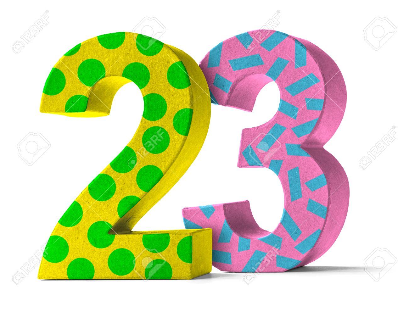 Numero Colorido Papel Mache Sobre Un Fondo Blanco Numero 23