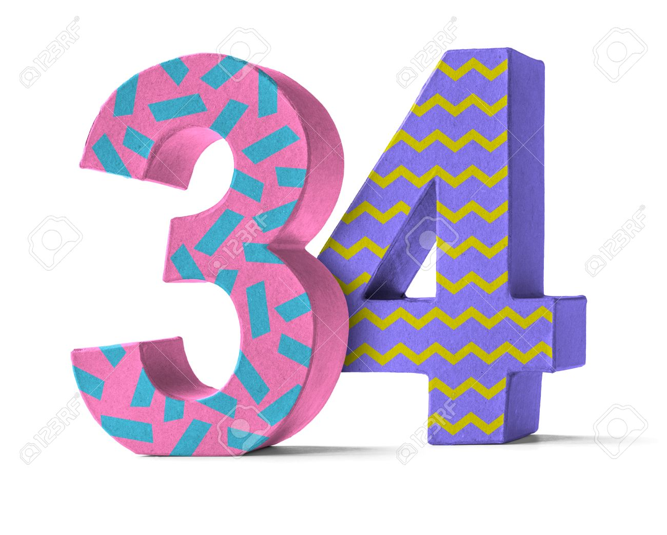 Colorful Paper Mache Number on a white background - Number 34 Stock Photo -  46142711