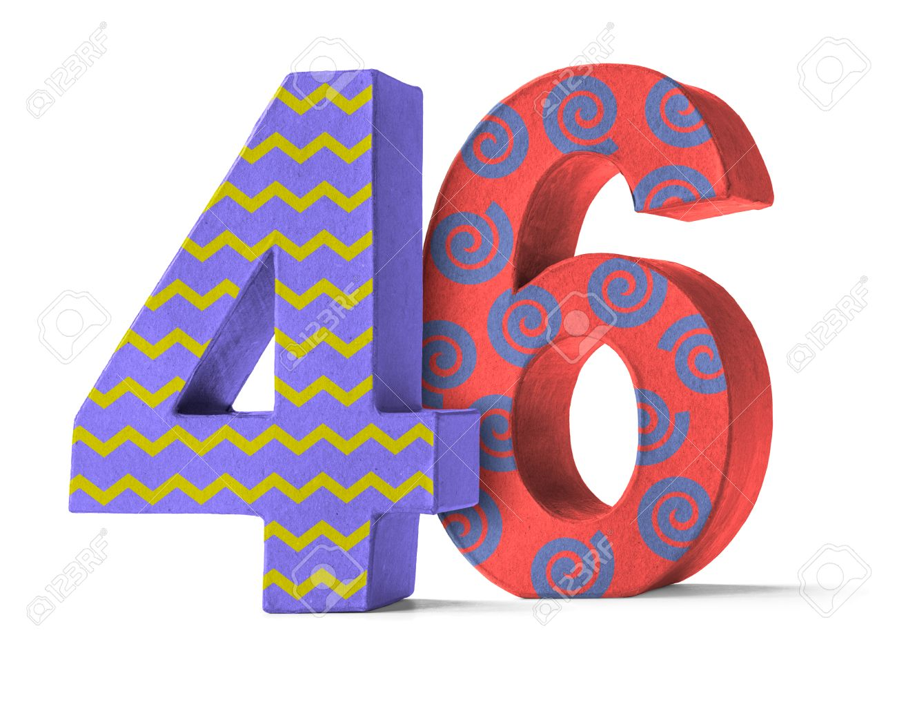 Colorful Paper Mache Number on a white background - Number 46 Stock Photo -  47062911