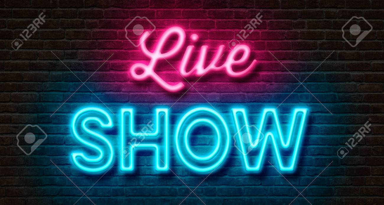 neon sign on a brick wall live show stock photo picture and